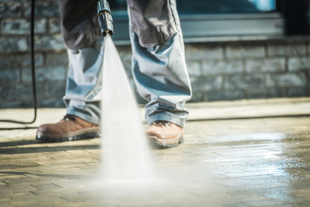 High-pressure washers are used to clean hard surfaces.